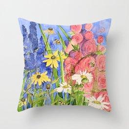 Cottage Garden Delphinium and Hollyhocks Watercolor Throw Pillow
