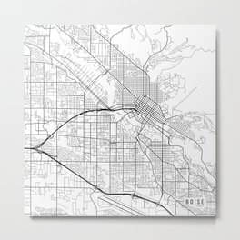 Boise Map, USA - Black and White Metal Print
