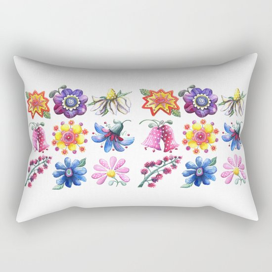 Pretty Flowers All in a Row Rectangular Pillow