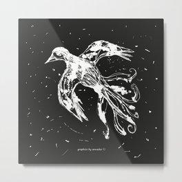 Bird white-black pattern Metal Print