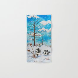 Winter: Two Chickadees and a Cardinal Hand & Bath Towel