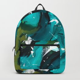 Turquoise and Green Abstract Backpack