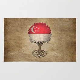 Vintage Tree of Life with Flag of Singapore Rug