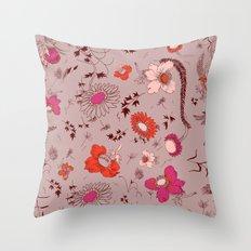 large floral print - pinks Throw Pillow