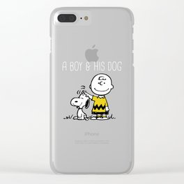 a boy & has dog Clear iPhone Case