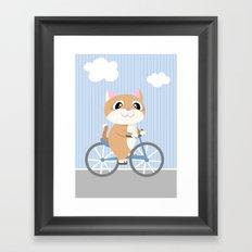 Mobile series bicycle cat Framed Art Print