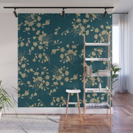 Gold Green Blue Flower Sihlouette Wall Mural