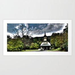 church and tree Art Print