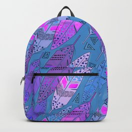 The colorful feathers on blue background . Backpack