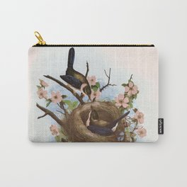 Vintage Birds with Nest Pink Carry-All Pouch