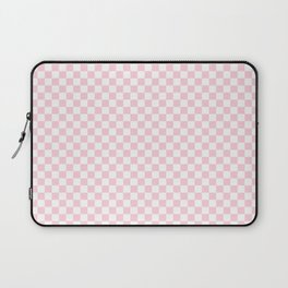 Light Soft Pastel Pink and White Checkerboard Laptop Sleeve