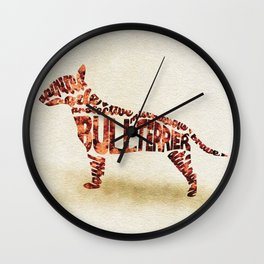 English Bull Terrier Typography Art / Watercolor Painting Wall Clock