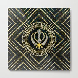 Decorative Khanda symbol with gemstones & gold frame Metal Print