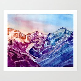 Colorful Watercolor Mountains #1 Art Print