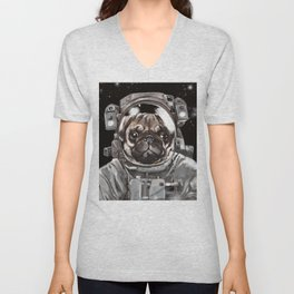 Astronaut Pug Selfie Unisex V-Neck
