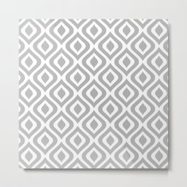 Mid Century Modern Diamond Ogee Pattern 123 Gray Metal Print