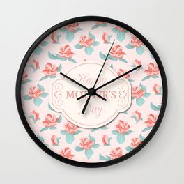 Happy Mother's Day Floral pattern Wall Clock