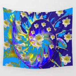 MODERN ART GARDEN BLUE SPIRAL &  DAFFODILS ART Wall Tapestry