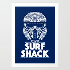 Space Surf Shack Art Print