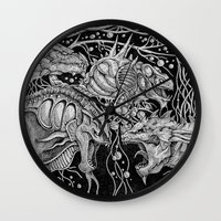 dragons Wall Clocks featuring Dragons by Walid Aziz