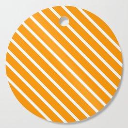 Neon Orange Diagonal Stripes Cutting Board