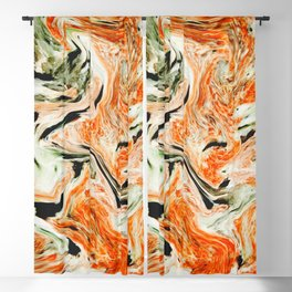 Modern orange and green marble Blackout Curtain