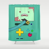 bmo Shower Curtains featuring Zom-BMO by Zeke Tucker