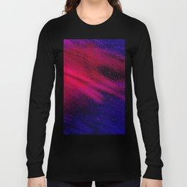 Abstract watercolor fuchsia pink navy blue nebula Long Sleeve T-shirt