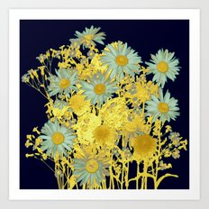 blue daisies and gold Art Print
