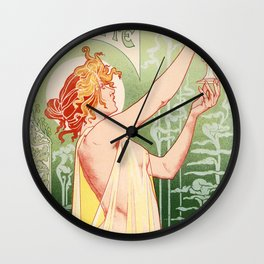 Absinthe Robette 1896 by Henri Privat Livemont Art Nouveau Vintage Poster 1896 Artwork for Prints Po Wall Clock