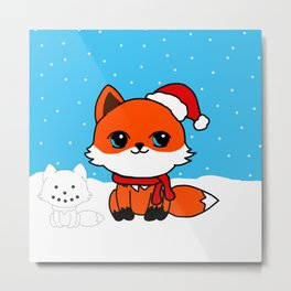 A Fox in the Snow Metal Print