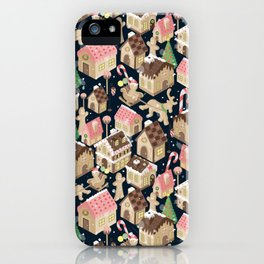 Gingerbread Town Navy Blue iPhone Case