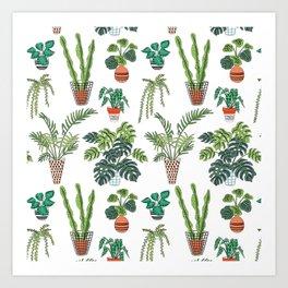 flowerpots pattern Art Print
