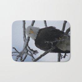Bald Eagle at 12 Below -- Soldotna, Alaska Bath Mat