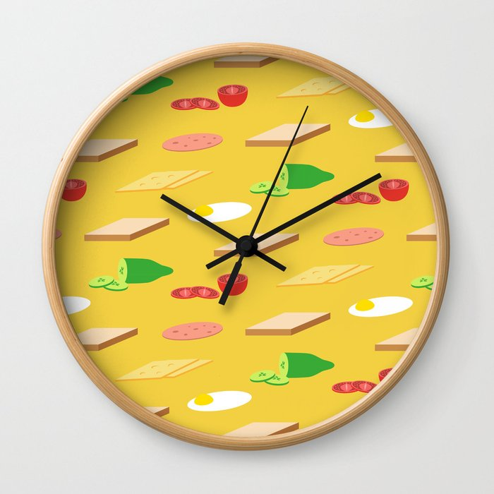 Breakfast Pattern Wall Clock