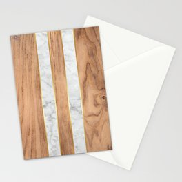 Wood Grain Stripes - White Marble #497 Stationery Cards