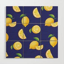 Lemons on Navy Wood Wall Art
