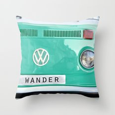 Wander wolkswagen. Summer dreams. Green Throw Pillow