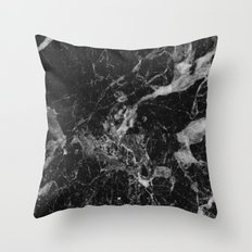Black and Gray Marble Pattern Throw Pillow
