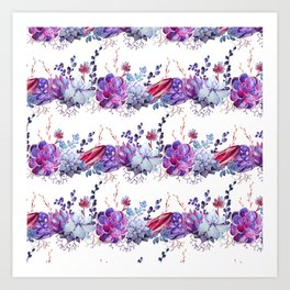 Pastel pink lavender blue watercolor succulents cactus floral Art Print