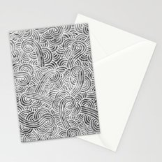 Grey and white swirls doodles Stationery Cards