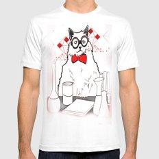 Chemistry Cat Mens Fitted Tee White MEDIUM