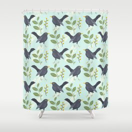 A Flurry Of Wings Spring Blackbird Pattern Shower Curtain