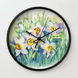 Daffodils watercolor illustration Wall Clock