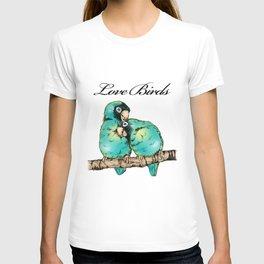 Colorful Love Birds Illustration T-shirt