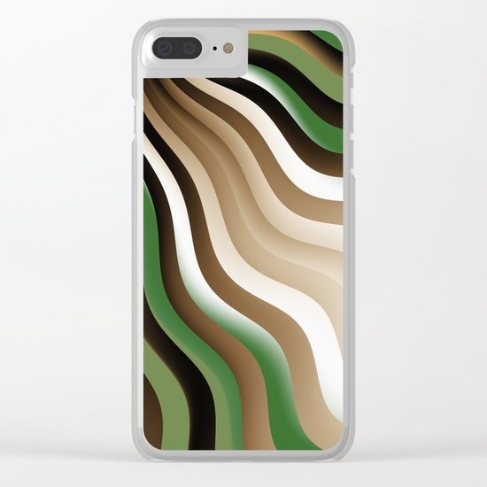Graphic Design, Fractal Art Waves Clear iPhone Case