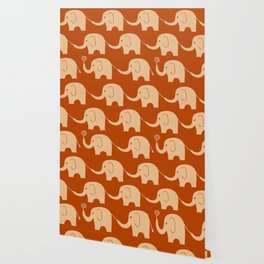 Elephant Parade in Burnt Orange Wallpaper
