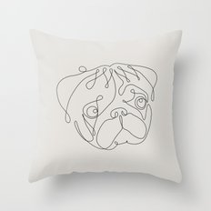 One Line Pug Throw Pillow