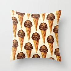 Ice Cream Pattern - Chocolate Throw Pillow
