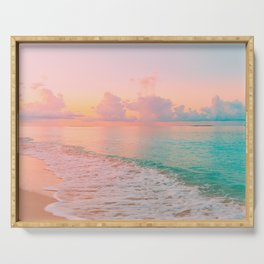 Beautiful: Aqua, Turquoise, Pink, Sunset Relaxing, Peaceful, Coastal Seashore Serving Tray